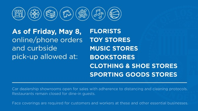 May 8 2020 Some retail stores open for online/phone orders and curbside pickup and delivery