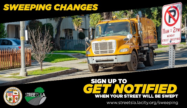Sweeping Changes street sweeper online notification from LA City